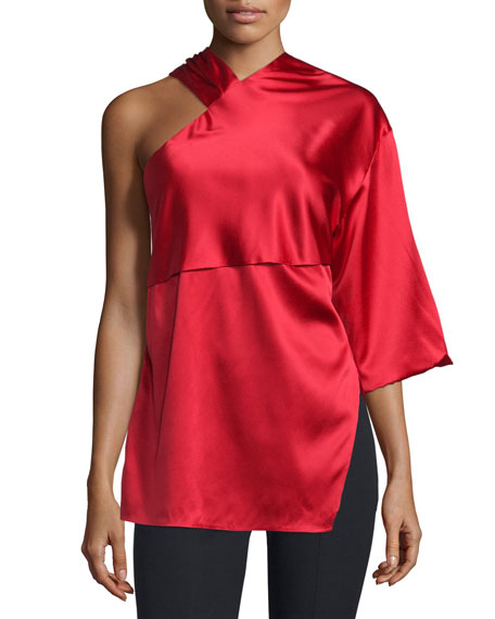 Costume National Asymmetric Woven Top, Red