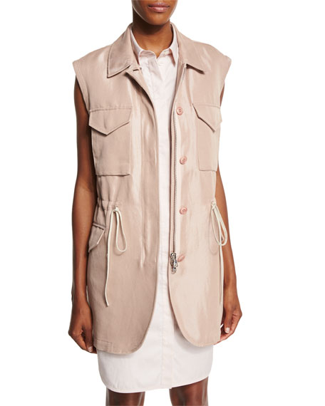 3.1 Phillip Lim Button-Front Drawstring Utility Vest, Blush