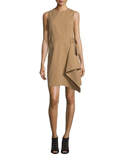Sleeveless Draped Trench Dress, Khaki