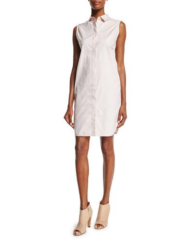 Sleeveless Overlay-Back Shirtdress, Blush