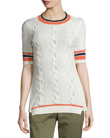 3.1 Phillip Lim Collegiate Short-Sleeve Open-Back Sweater, White