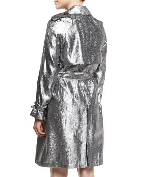 Belted Metallic Trenchcoat, Platinum
