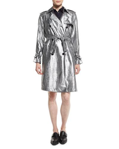 Belted Metallic Trenchcoat, Platinum