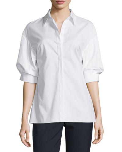 Poplin Puffed-Sleeve Top, White