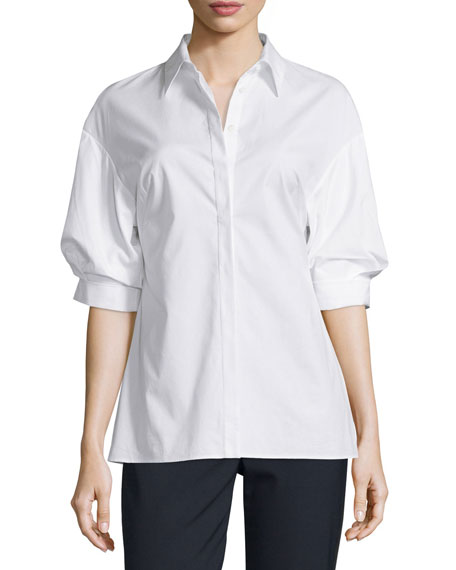 3.1 Phillip Lim Poplin Puffed-Sleeve Top, White