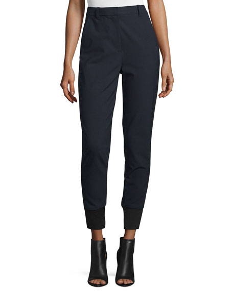 3.1 Phillip Lim High-Rise Straight-Leg Track Pants, Navy