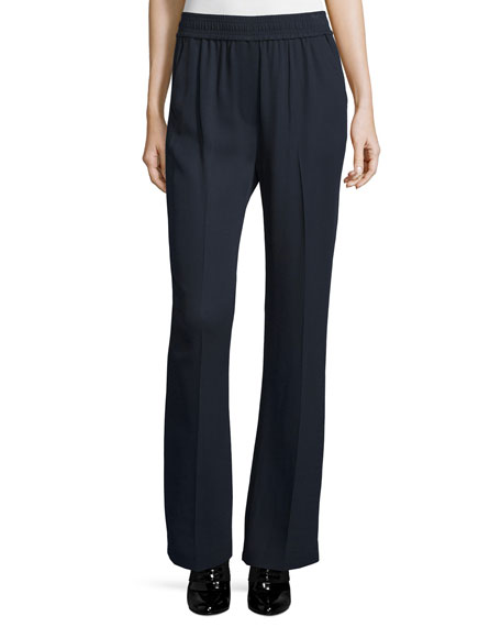 3.1 Phillip Lim Smocked Boot-Cut Stretch Pants, Navy