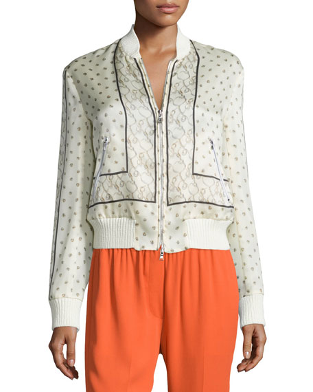 Scarf-Print Silk Bomber Jacket, Ivory