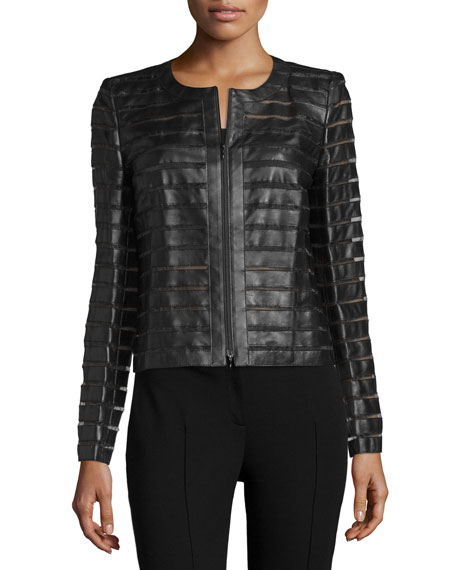 Catrice Leather Jacket W/Mesh Stripes, Black
