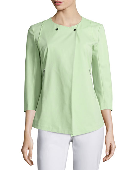 Lafayette 148 New York Dayle 3/4-Sleeve Jacket, Mint