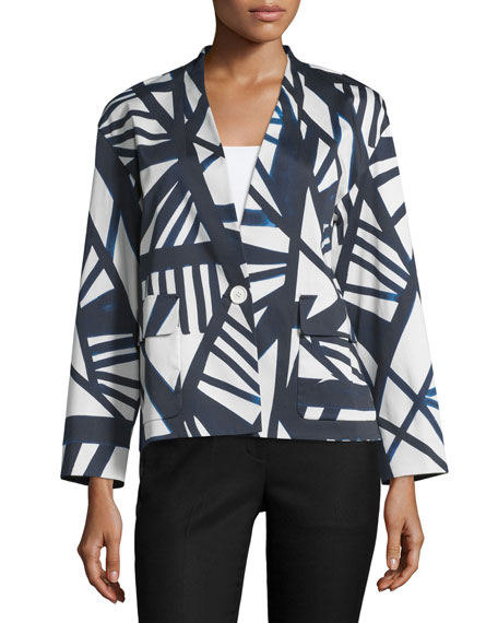 Lafayette 148 New York Baker Geometric-Print One-Button Topper,