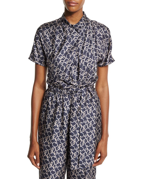 3.1 Phillip Lim Short-Sleeve Printed Silk Blouse, Phantom