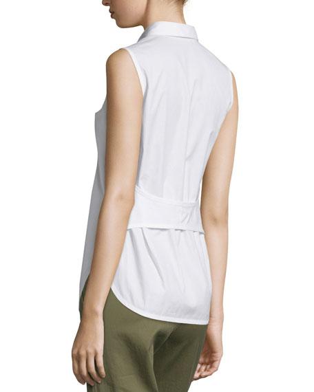 Sleeveless Back-Overlay Poplin Blouse, White