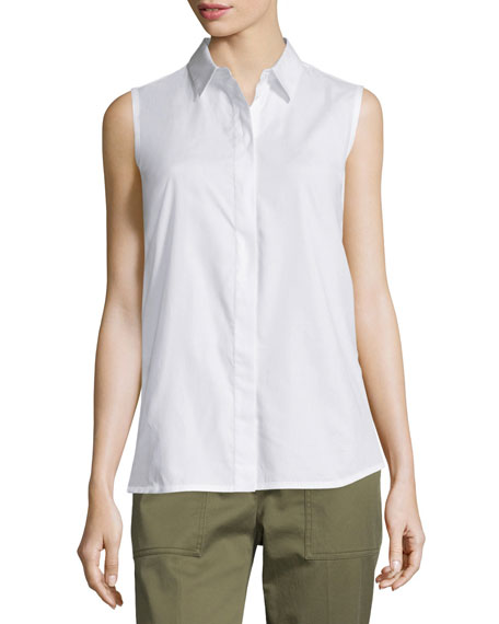 3.1 Phillip Lim Sleeveless Back-Overlay Poplin Blouse, White