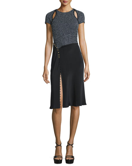 3.1 Phillip Lim Short-Sleeve Combo Sheath Dress, Navy