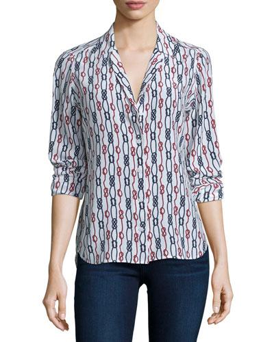 Adalyn Long-Sleeve Printed Shirt, Bright White/Multi