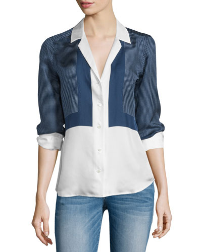 Adalyn Button-Front Shirt, Peacoat/Bright White