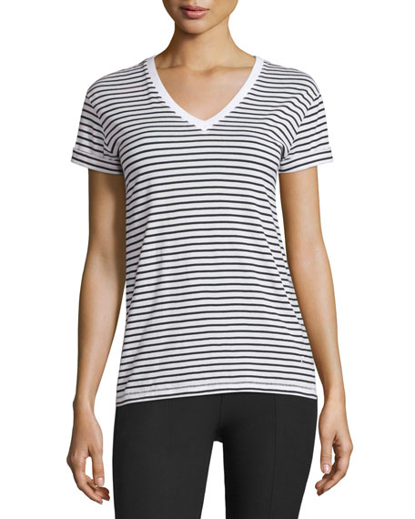 T by Alexander Wang Superfine Jersey V-Neck Tee,