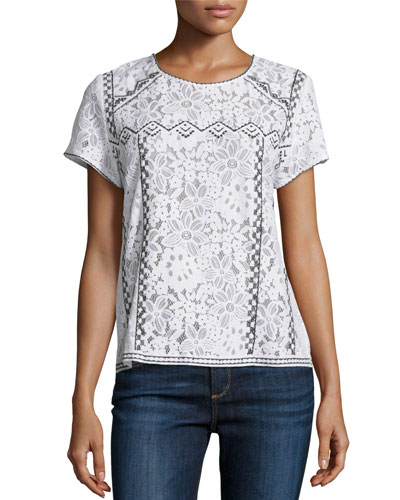 Floral Lace Contrast-Embroidered Short-Sleeve Top