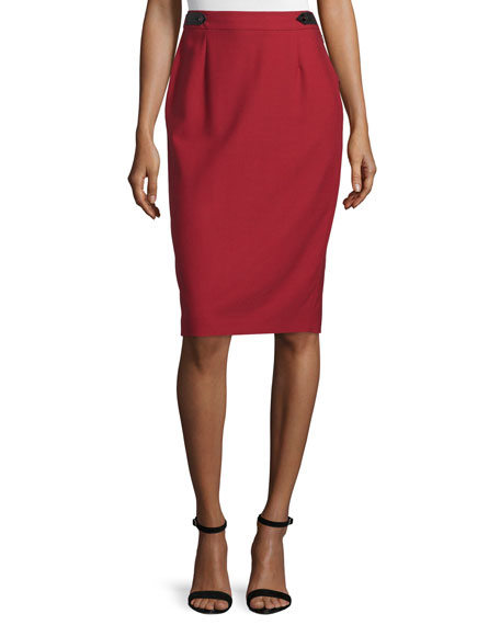 CoSTUME NATIONAL High-Waist Pencil Skirt, Red