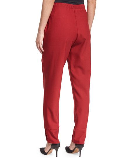 Elastic-Waist Slim-Leg Trousers, Red