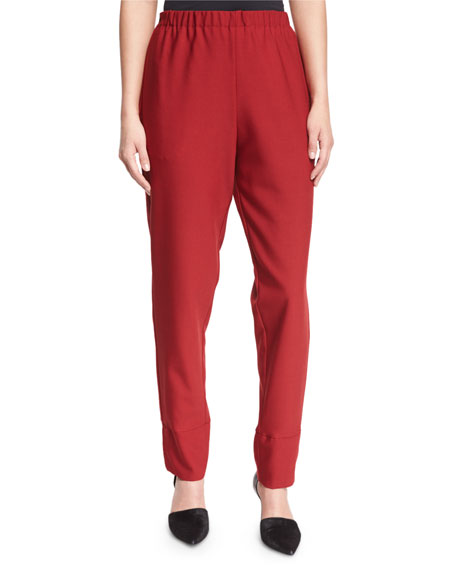 Costume National Elastic-Waist Slim-Leg Trousers, Red