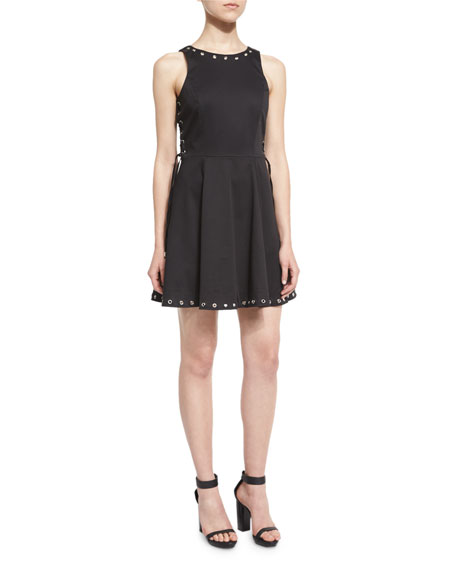Parker Flynn Grommet-Embellished Mini Dress, Black
