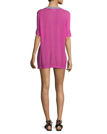 Xico Short-Sleeve Lace-Up Shirtdress, Fuchsia