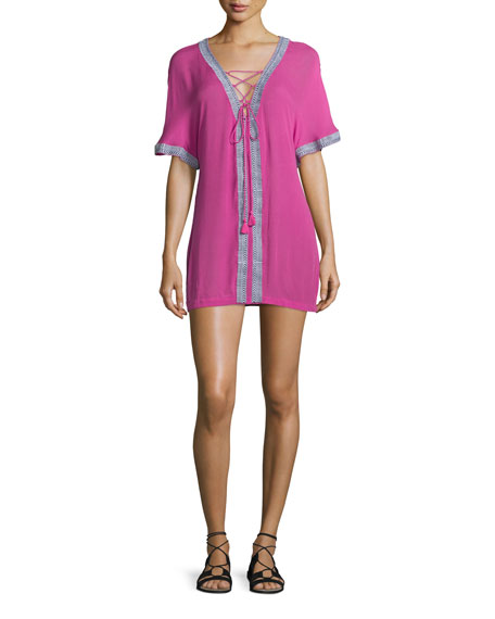 Townsen Xico Short-Sleeve Lace-Up Shirtdress, Fuchsia