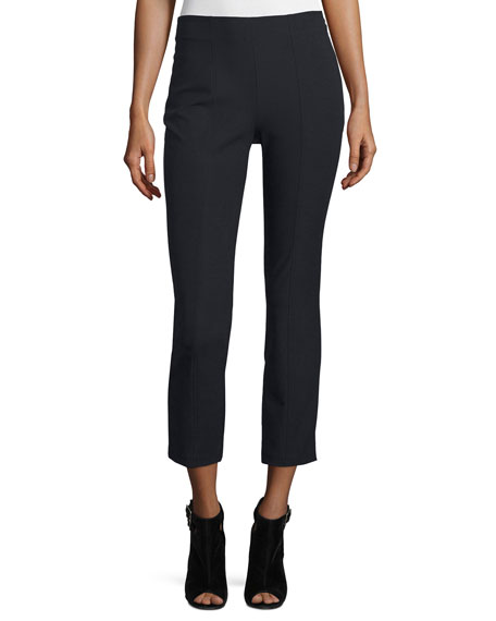 Cropped Stretch Suiting Pants, Black