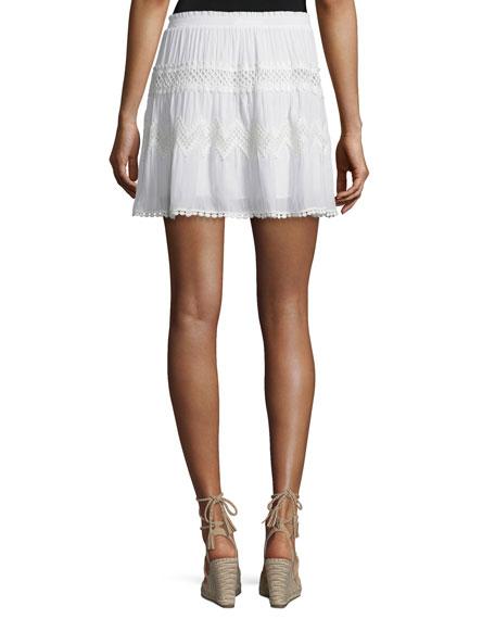Francesca Crochet-Inset A-Line Skirt, Ivory