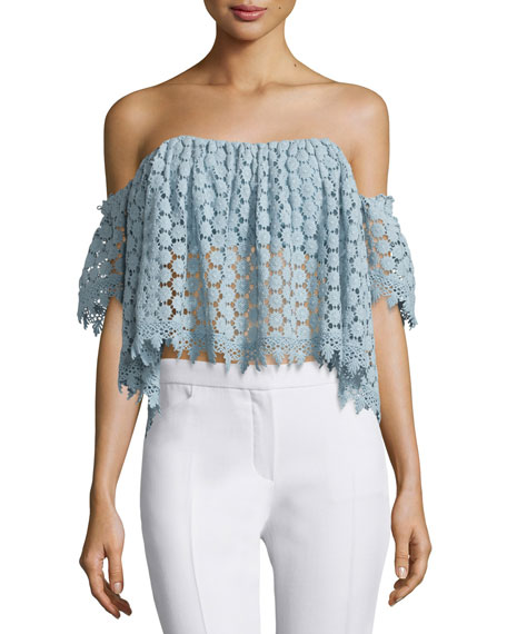 Amelia Off-The-Shoulder Lace Crop Top, Mint