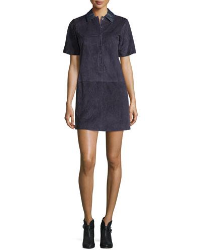 Alix Paneled Suede Shift Dress, Navy