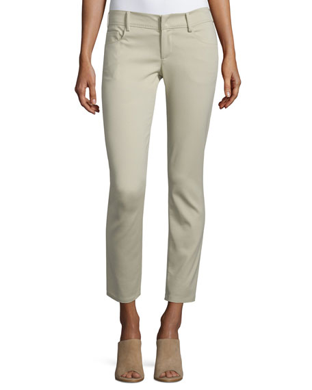 Costume National Low-Rise Skinny Cropped Pants, Tan