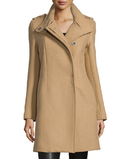 Button-Front Textured Trench Coat, Tan