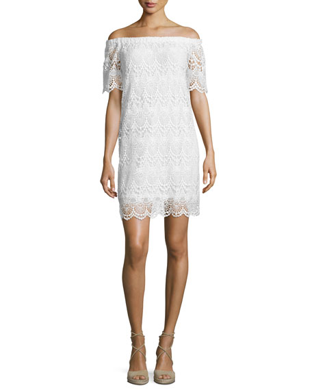 Gustina Off-The-Shoulder Lace Dress, White