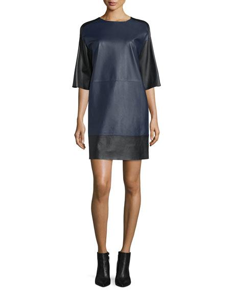 CoSTUME NATIONAL Half-Sleeve Leather Shift Dress, Ink Blue
