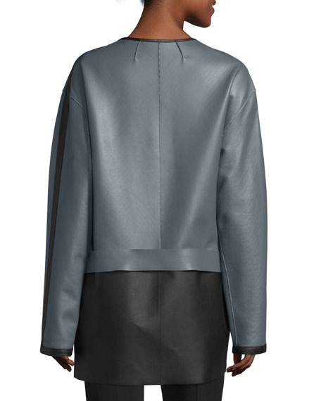 Colorblock Leather Jacket, Gray