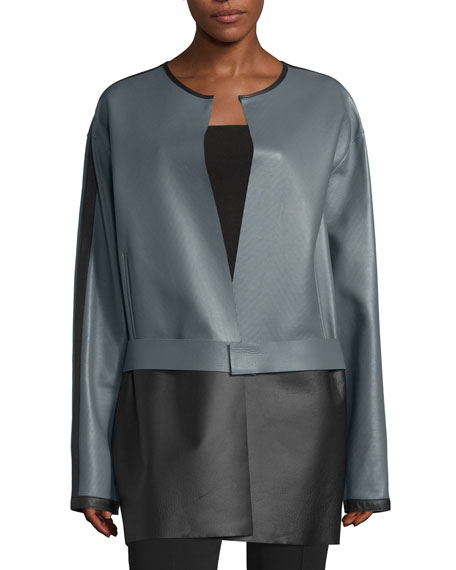 Costume National Colorblock Leather Jacket, Gray