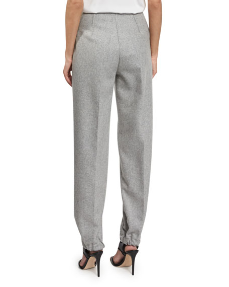 High-Waist Jogger Pants, Light Gray