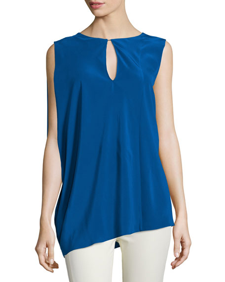 Costume National Sleeveless Keyhole-Front Top, Blue