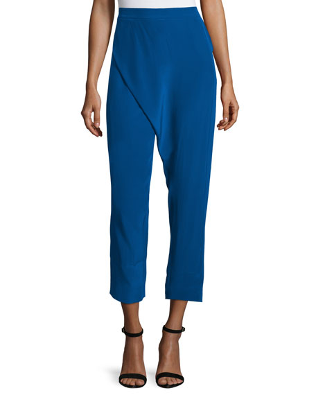 CoSTUME NATIONAL Wrap-Front Cropped Pants, Blue