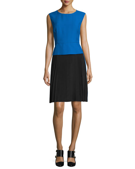 Costume National Sleeveless Colorblock Sheath Dress, Blue