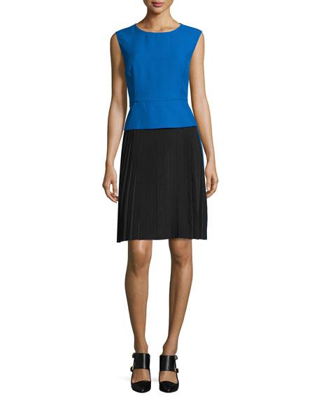 Sleeveless Colorblock Sheath Dress, Blue