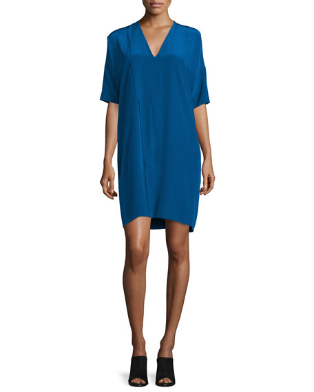CoSTUME NATIONAL Half-Sleeve V-Neck Shift Dress, Blue