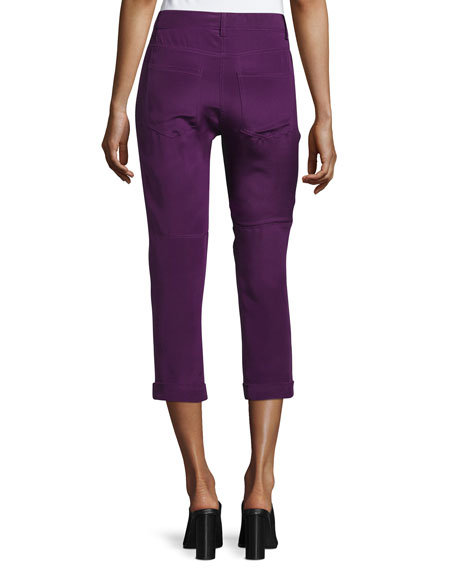 Mid-Rise Skinny Cropped Trousers, Purple