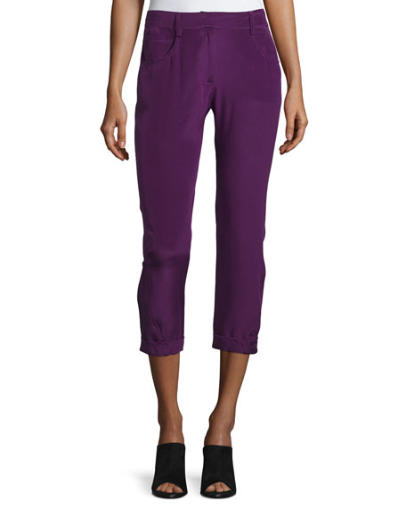 Costume National Mid-Rise Skinny Cropped Trousers, Purple