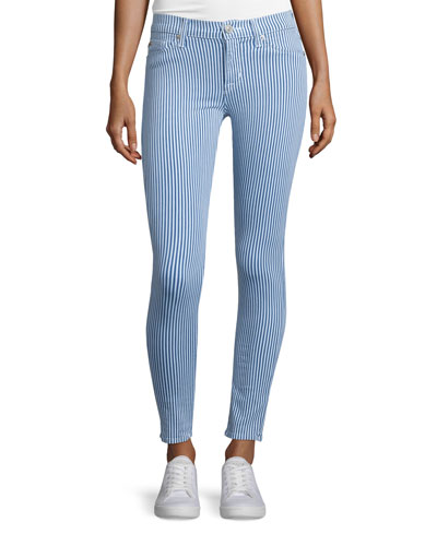 Nico Super-Skinny Striped Jeans, Seawell