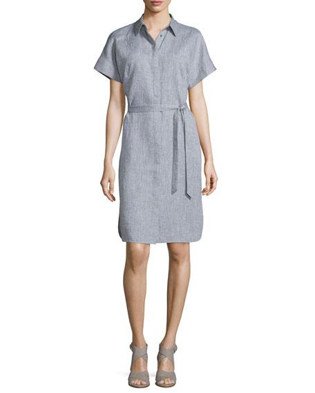 Lafayette 148 New York Yvonne Short-Sleeve Belted Dress, Shale/Multi