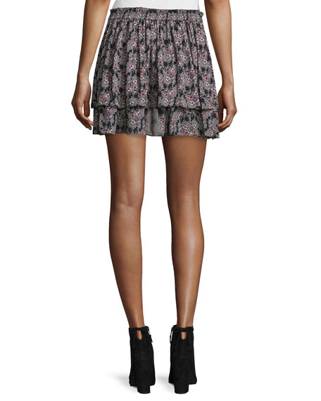 Tiered Floral Silk Skirt, Black/Multicolor